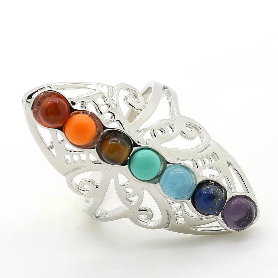 Silver Chakra Stone Ring
