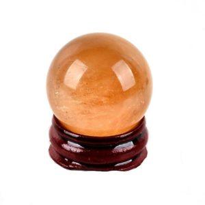 Mini Orange Calcite Sphere with Stand