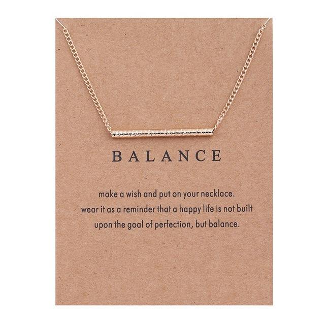 Balance Straight Bar Alloy  Pendant Necklace