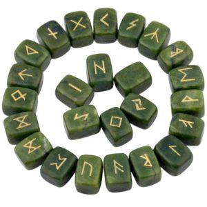 1Lot (25Pc) Green Jade Engraved Rune Stones
